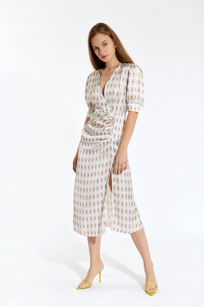 Κρουαζέ φόρεμα με φουσκωτά μανίκια