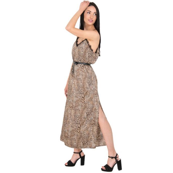 lingerie φόρεμα με animal print και ζώνη