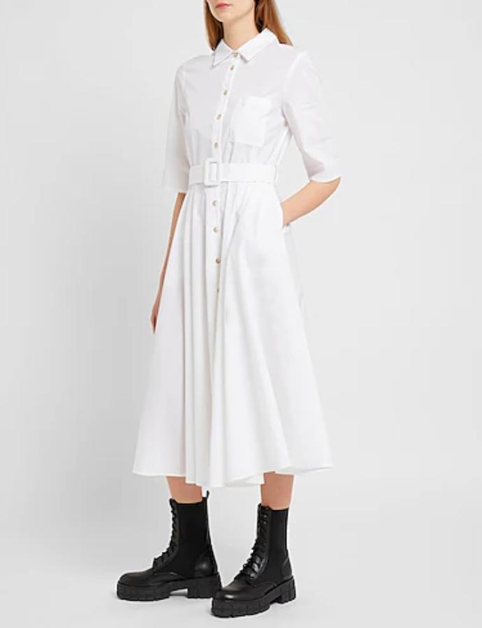 λευκό polo shirt dress