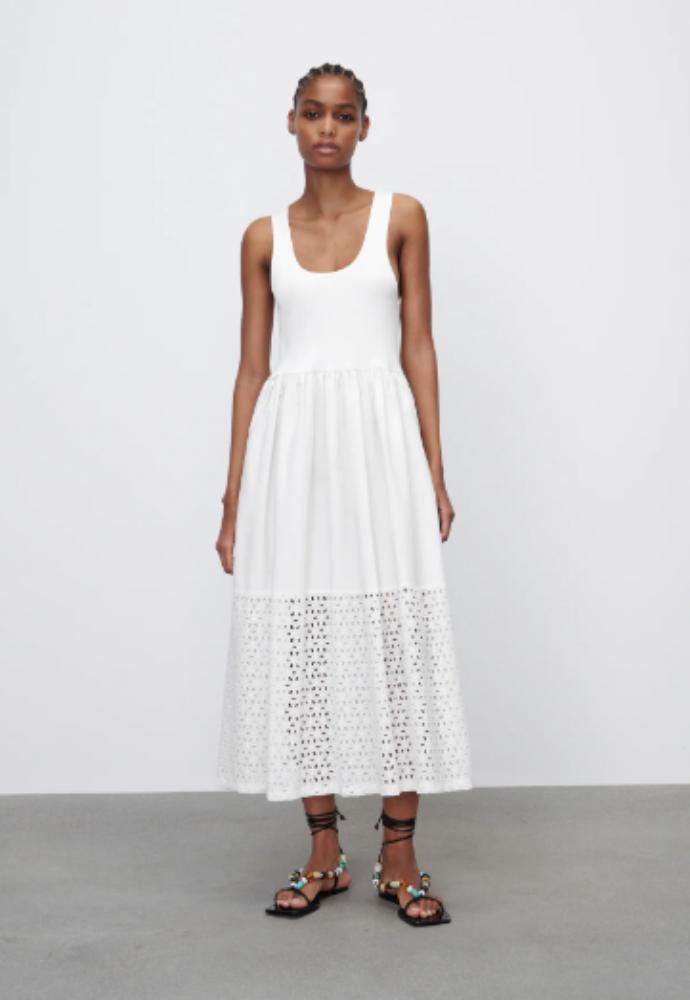 φόρεμα με διάτρητα κεντήματα
