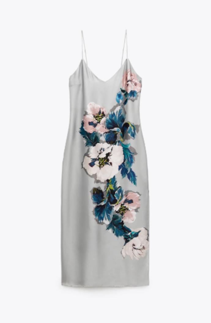 φόρεμα σε στιλ lingerie με λουλούδι