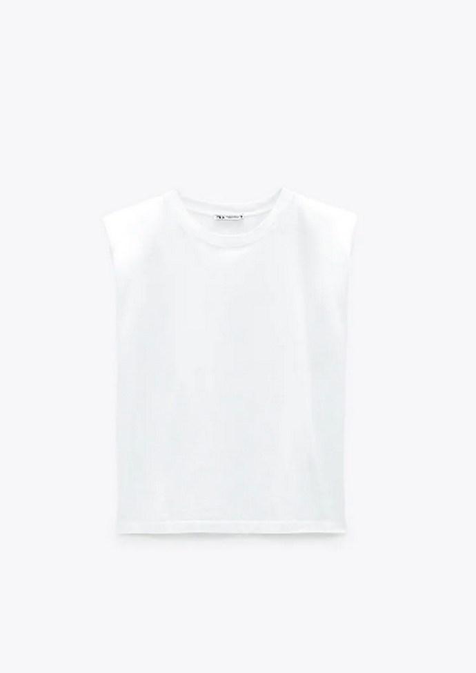 Αμάνικη λευκή μπλούζα με στρόγγυλη λαιμόκοψη και βάτες