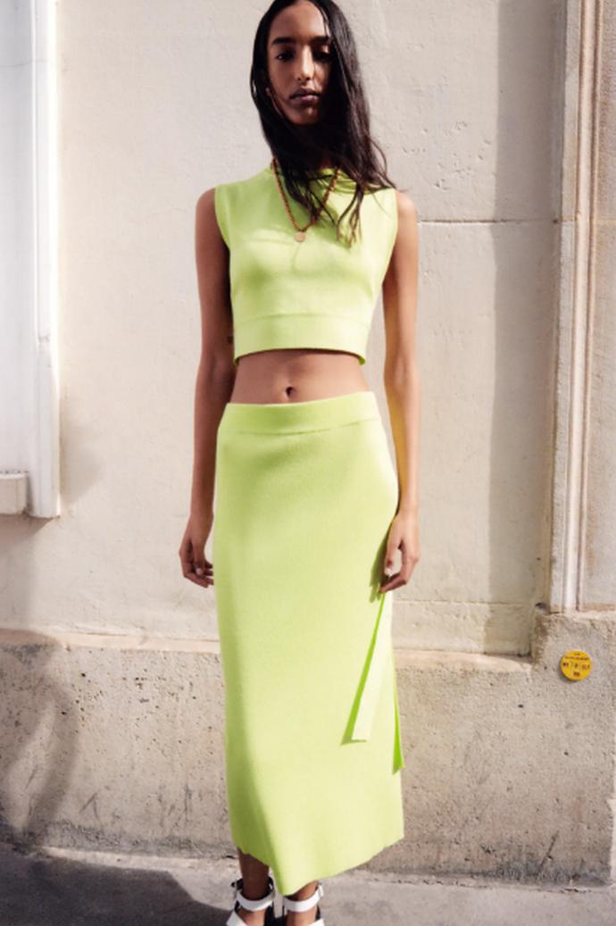 πλεκτή φούστα με άνοιγμα