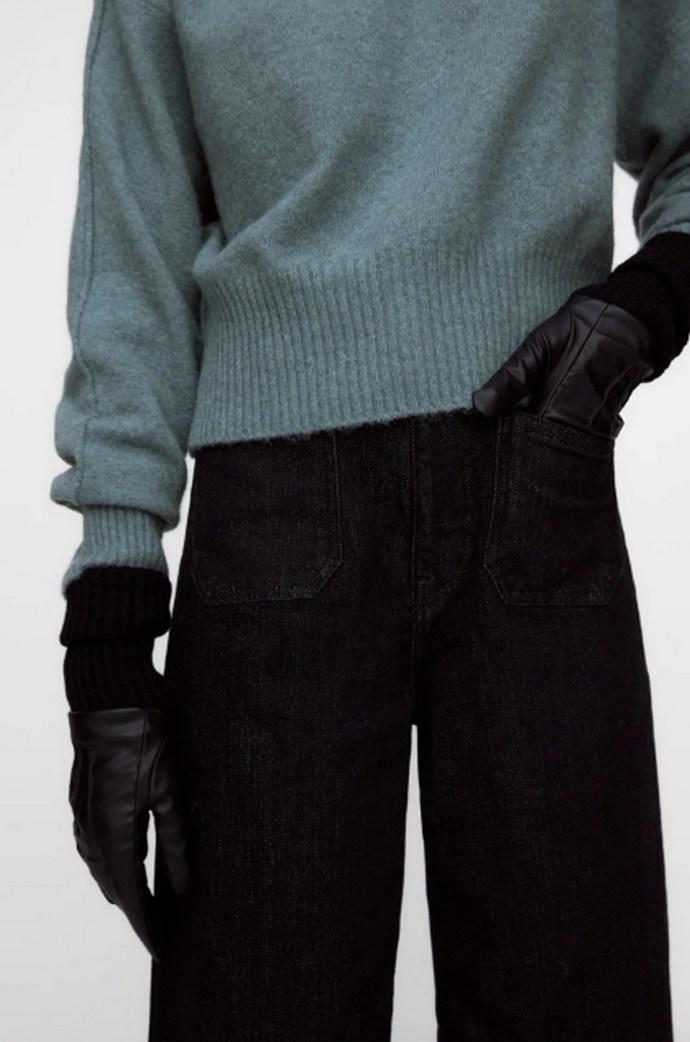 Γάντια με εφέ δέρματος με πλεκτό καρπό σε συνδυασμό