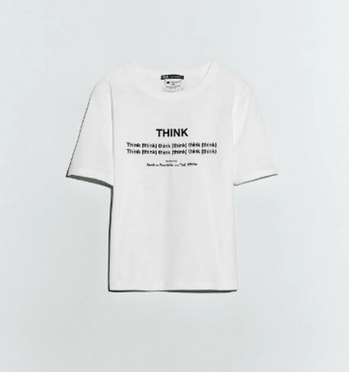 "t-shirt με στίχους από το τραγούδι ""Think"" των Aretha Franklin και Ted White"