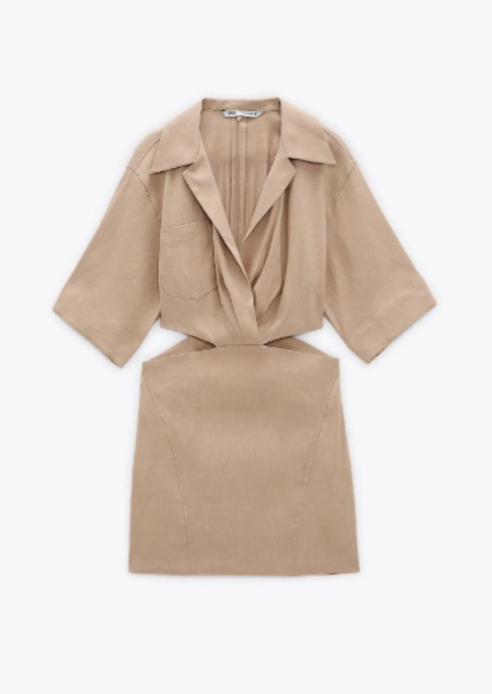 Μίνι φόρεμα με γιακά σε στυλ πουκαμίσου και κοντό μανίκι με cut out στα πλάγια