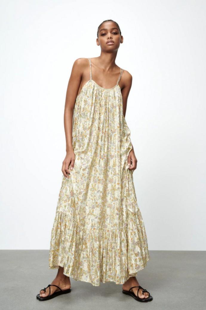 Printed metallic φόρεμα