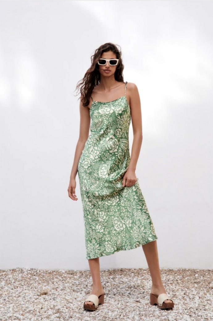 Printed slip φόρεμα