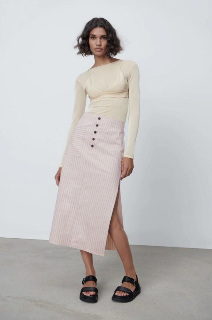 Μίντι ριγέ φούστα